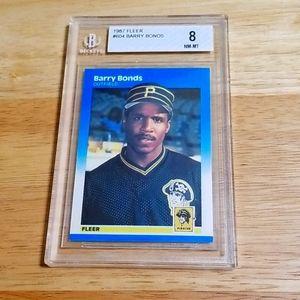 1987 Barry Bonds RC - Fleer # 604 - Beckett 8